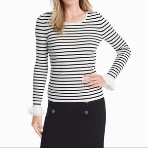 White House Black Market White Striped Sweater